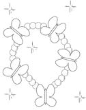 Butterfly beads bracelet coloring page Stock Photography