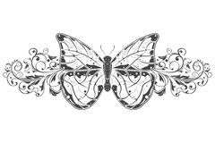 Butterfly with beautiful filigree floral decoration. Vector illustration isolated on white background Royalty Free Stock Photos