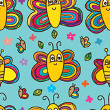 Butterfly bee cute seamless pattern Stock Photography