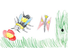 Butterfly and bee on sunny meadow. child drawing Royalty Free Stock Photos