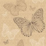 Butterfly beige seamless. The beige seamless pattern with brown and white butterfly Stock Photos