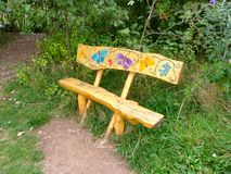 Butterfly bench. Beautiful seating outside the sensory garden in rushcliffe country park Stock Photos