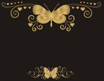 Butterfly on black background. Golden butterfly on black background -  illustration Stock Image