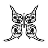 Butterfly Black Outline Vector Illustration Royalty Free Stock Photo