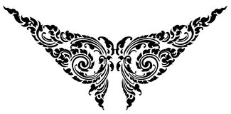 Butterfly black pattern tattoo design. Thai style ancient format stock illustration