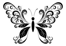 Butterfly Black Pictogram Stock Photos