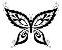 Butterfly, black silhouettes Stock Photography