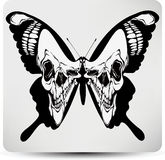 Butterfly black skull. Vector illustration Royalty Free Stock Images