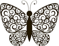 Butterfly. Black tracery butterfly. vector illustration Stock Photo