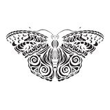 Butterfly black vector. Pattern on the wings. Laser cutting. stock illustration