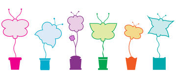 Butterfly blank topiary garden shapes. Vector blank butterfly shapes growing from pots Royalty Free Stock Photo