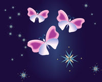 Butterfly Blue 2. Digital art with additional version Vector Illustration