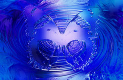Butterfly on blue background. Glass and metal effect and swirl. Royalty Free Stock Photography