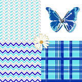 Butterfly Blue Patterns Seamless Stock Images