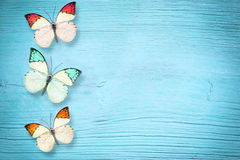 Butterfly on a blue wooden background Royalty Free Stock Photos
