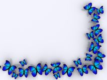 Butterfly border. Butterfly frame on white background - rendered in 3d royalty free illustration