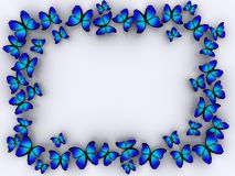 Butterfly border. A butterflys on white background - rendered in 3d stock illustration