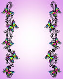 Butterfly Border 3D. 3D butterflies border for card, stationery or scrapbook page Stock Photo