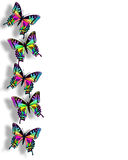 Butterfly Border 3D Rainbow colors. 3D illustration butterfly border for card, stationery or scrapbook page, wedding invitation on white background Stock Photography