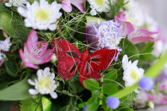 Butterfly in bouquet Royalty Free Stock Images
