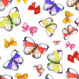 Butterfly and bow, watercolor Royalty Free Stock Photos