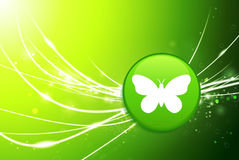 Butterfly Button on Green Abstract Light Background. Original Illustration stock illustration