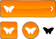 Butterfly  button set. Royalty Free Stock Image