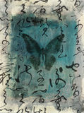 Butterfly Calligraphy Stock Image