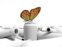 Butterfly on a can in a dump. Orange butterfly on a can in a dump. 3D environment in a white background Royalty Free Stock Image