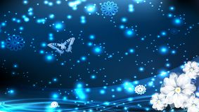 Butterfly Card. Light blue background with flower Stock Image