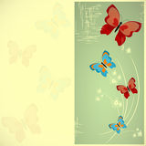 Butterfly card. Card with butterflies in retro style Royalty Free Stock Photos