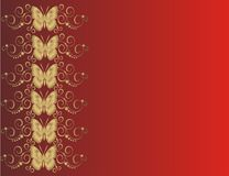 Butterfly card. Golden butterfly on red background -  illustration Royalty Free Stock Photos