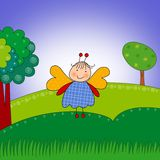 Butterfly. Cartoon character. Stock Photo