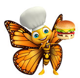 Butterfly cartoon character with burger and chef hat. 3d rendered illustration of Butterfly cartoon character with burger and chef hat Royalty Free Stock Image