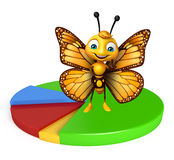Butterfly cartoon character with circle sign Stock Photo