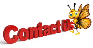 Butterfly cartoon character with contact us sign Stock Photos
