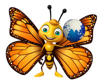 Butterfly cartoon character with earth sign Royalty Free Stock Photo