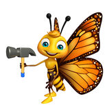 Butterfly cartoon character with hammer Royalty Free Stock Images
