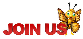 Butterfly cartoon character with join us sign. 3d rendered illustration of Butterfly cartoon character with join us sign Stock Photo