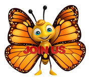 Butterfly cartoon character with join us sign. 3d rendered illustration of Butterfly cartoon character with join us sign Stock Photos