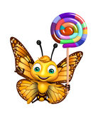 Butterfly cartoon character with lollypop Stock Images