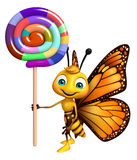 Butterfly cartoon character with lollypop Stock Image