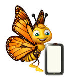 Butterfly cartoon character with mobile Royalty Free Stock Photo