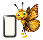 Butterfly cartoon character with mobile Stock Image