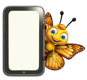 Butterfly cartoon character with mobile Royalty Free Stock Images