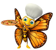 Butterfly cartoon character with pizza  and chef hat. 3d rendered illustration of Butterfly cartoon character with pizza and chef hat Stock Photos