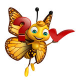 Butterfly cartoon character with question sign  and right sign Royalty Free Stock Photos