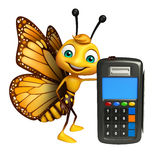 Butterfly cartoon character with swap machine Stock Images