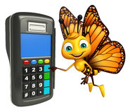 Butterfly cartoon character with swap machine Royalty Free Stock Photo