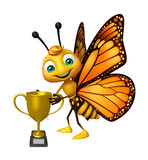 Butterfly cartoon character with winning cup Royalty Free Stock Photos